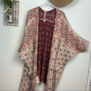 Lucky brand Bohemian Kimono style long Cardigan XL